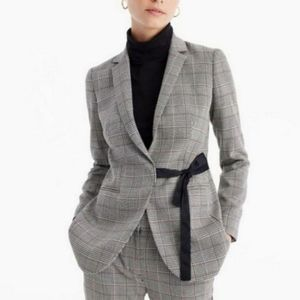 J.Crew Tie Front Blazer in Lady Glen Plaid 12